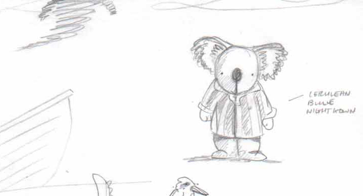 A pencil sketch of a koala wearing pyjamas