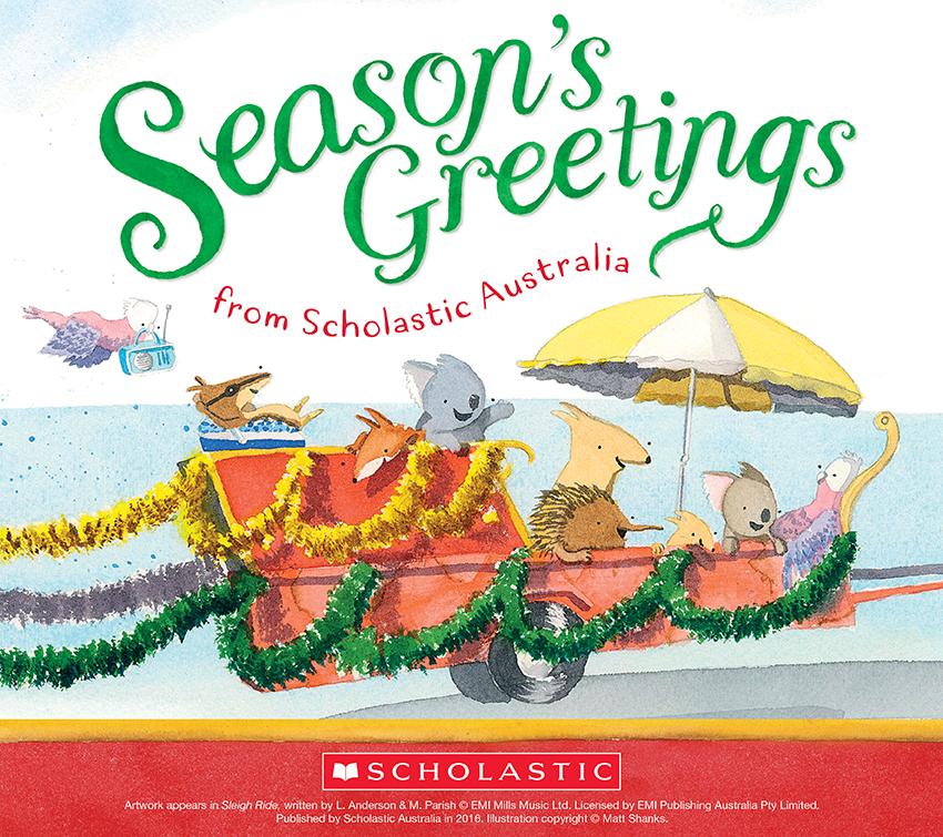 Scholastic australia selects sleigh ride as their 2016 christmas e australian animals in a trailer on their way to the beach m4hsunfo